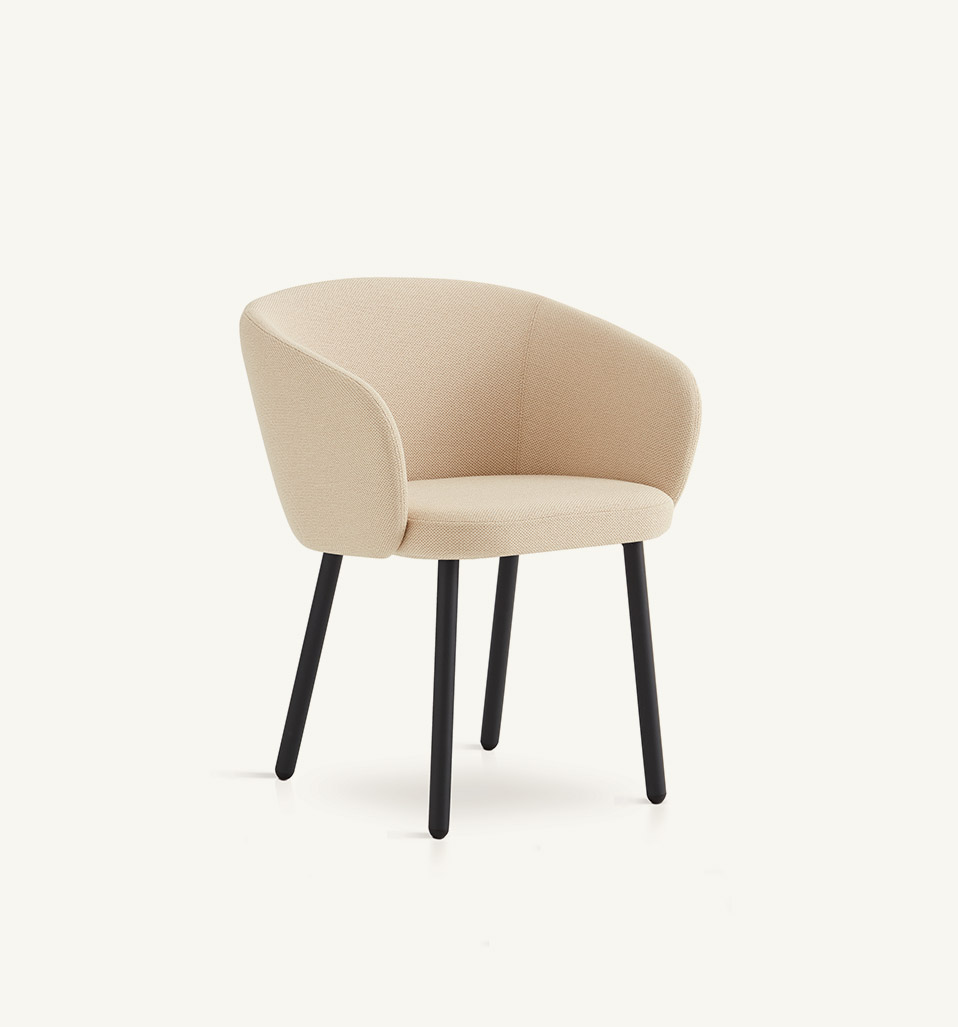Huma upholstered dining armchair with metal legs
