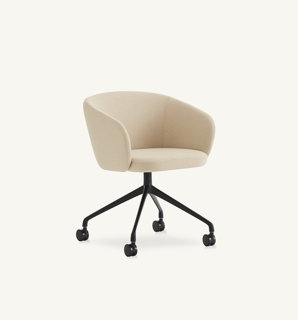 Huma upholstered swivel armchair with casters