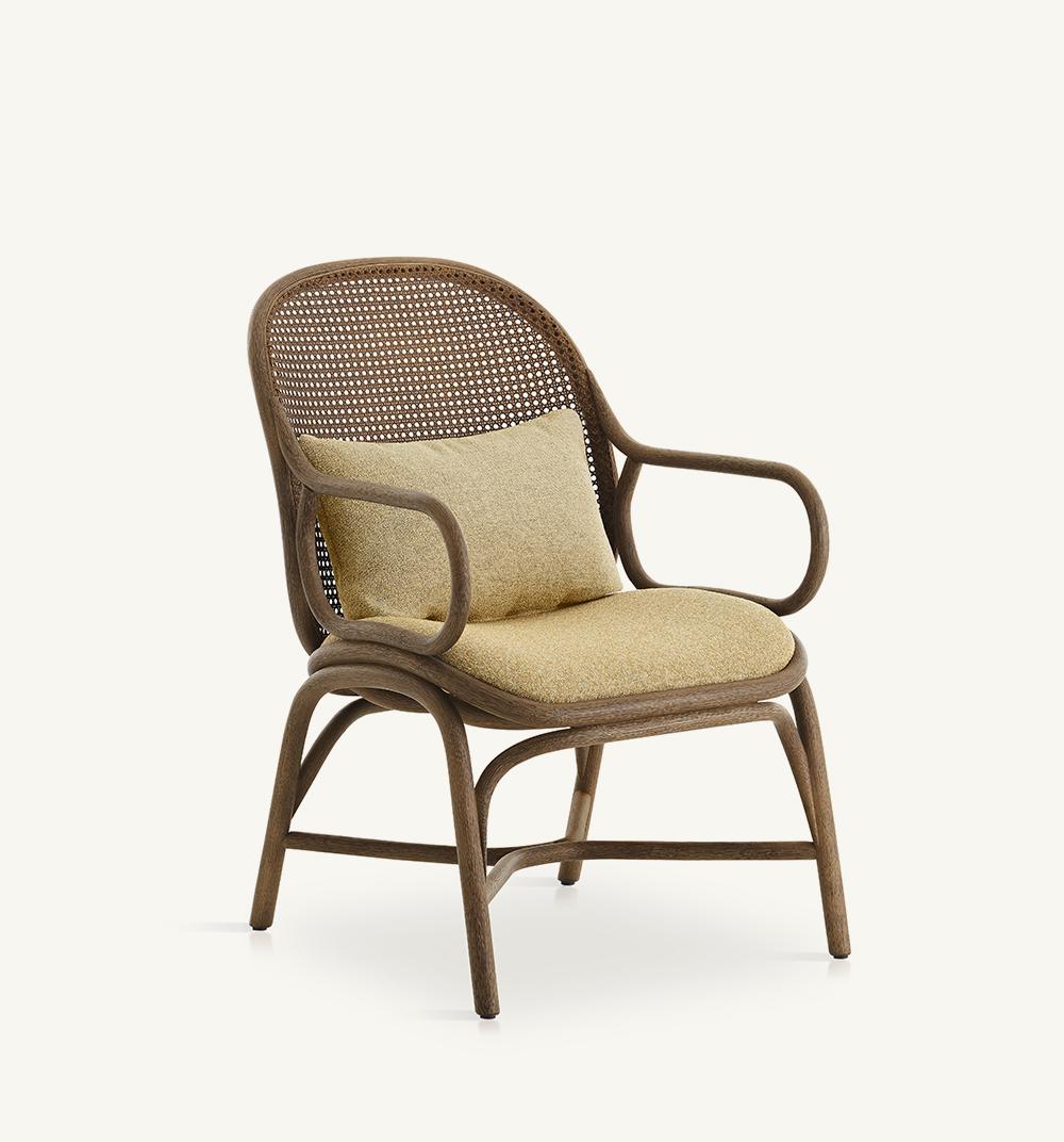 Frames upholstered low backrest armchair